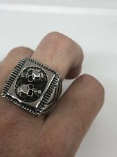 Vintage Silver Stainless Steel Size 10 Catacomb Scull Men's Ring