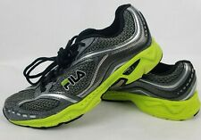 Fila Mens Sneakers Sz 8.5 Black Gray Green Lightweight Lace Up Running Shoes **