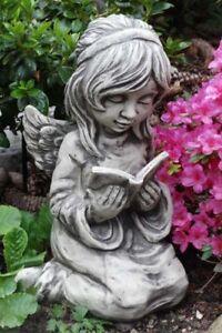 """ENGEL """"ARELLA"""" MIT BUCH, STEINGUSS Vidroflor Figur Skulptur frostsicher Grabdeko"""