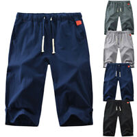 Men Sport Casual Cotton Linen Shorts Training Outdoor Loose Cropped Pants