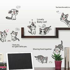 New Cheese Cat  Wall Stickers Cute Kitty Children's Room Background Home Decals