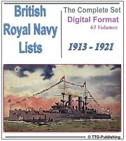 British Royal Navy Lists DVD- World War 1 Research WW1 Military History Medal 78