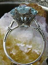 5ct *Aquamarine* Solid Sterling Silver Edwardian 1910 Etch Filigree Ring Size: 6