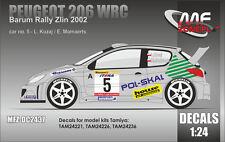 DECALS 1/24 PEUGEOT 206 WRC - #5 - KUZAJ - RALLYE BARUM ZLIN 2002 - DC2437