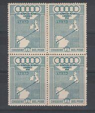 FRANCOBOLLI 1948 PERU'/PEROU 1 S. GIOCHI DI LONDRA IN QUARTINA D/1286
