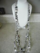 "Chico's Necklace Multi Strand Layered Silver Tone Long 40"" N47"