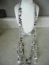 """Chico's Necklace Multi Strand Layered Silver Tone Long 40"""" N47"""