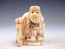 Japanese Highly Detailed Hand Crafted Netsuke Old Man Holds Big Bag #10061806