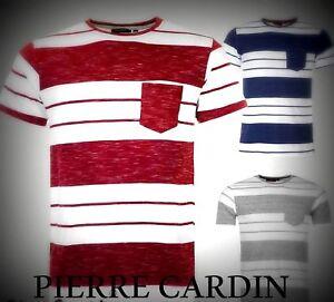 New Mens Pierre Cardin Lightweight Block Pocket Striped T Shirt Top Size M-XXL