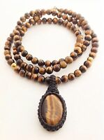Men's Natural Tiger's Eye Gemstone Mala 108 Beaded Yoga Pendant Jewelry Necklace