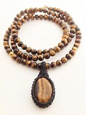 Men's Natural Tiger's Eye Gemstone Mala 108 Beaded Yoga Pendant Jewelry Necklace