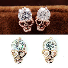 Vintage Stud Earrings Women Diamond Gold Plated Skull Stud Earrings  T Tn