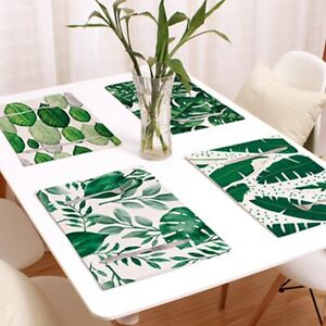 Home Insulation Placemat Thickened Linen Decorations Forest Printed Tablecloth
