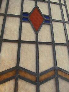 "Fully Restored 2 PIECE Original EDWARDIAN STAINED GLASS WINDOW PANEL 17"" Width"