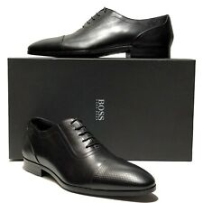 039ed2ab490f90 Hugo Boss Italy Black Leather Captoe 10.5 Mens Pebbled Oxford Dress Derby  Casual