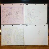 Lot of 4 Jojo's Bizarre Adventure Original Animation Sketches for Cels