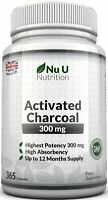 Activated Charcoal 365 300mg Capsules 100% Money Back Guarantee UK Manufactured