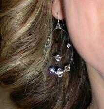 CLEAR AB Crystal Earrings Sterling Silver Floating Chandelier Swarovski Elements