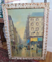 Large Vintage Signed  French Impressionist  Paris Streets France Oil Painting