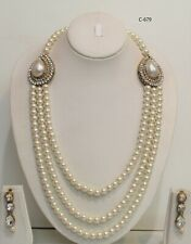 Indian bollywood  Gold Necklace Mala Chain necklace Jewellery Set with earrings