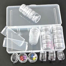 25 PCS Empty Clear Storage Pot With Case For Gem Rhinestone Powder Bead Sequins