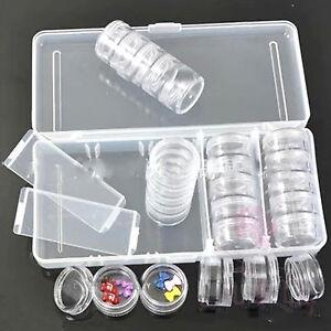 25PCS Empty Clear Nail Art Storage Box Case For Rhinestone Powder Bead Sequins