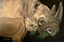 Black Rhino Poster Painting - Pastel Giclee Art African Animal Wildlife 12X18