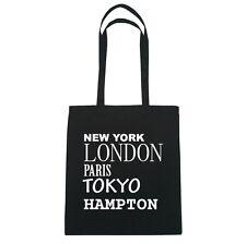 New York,London,Paris,Tokyo Hampton - Jute Bag Bag - Color:Black
