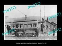 OLD LARGE HISTORIC PHOTO OF THE HOOSAC VALLEY RAILWAY TROLLEY, RENFREW c1900