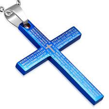 Zense - Pendentif pour homme bleu et croix latine ZP0173