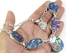Natural Abalone Shell Gemstone Handmade Fashion Jewelry Silver Necklace N-144