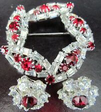 HOBE & BOGOFF Ruby Red & Sparkling Ice Rhinestone Vintage Pin & Earrings