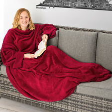 Coperta con le maniche soffice dormire divano tasca del mobile 170x200cm bordò n