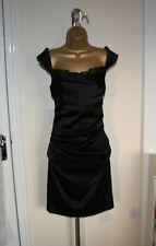 Nuevo Diseñador Suzi Chin de Sexy Vestido Negro Ajustado Maggy Boutique Talla UK 12