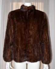 VTG Brown Real Genuine Mink Fur Coat Ribbed Patterned Jacket Zipper Medium M