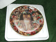 Vintage plate VICTORIAN CATS, by Victoria Howard trimmed Danbury Mint