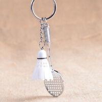 Fashion Mini Badminton Racket Shaped Pendant Keychain Keyring Key Chain Ring