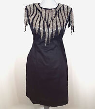 French Connection Dallas Delight Black & Silver Embellished Dress Womens Size 10