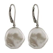 Sterling silver rhodium plated leverback earrings 13-15mm Keshi pearl ESR-202