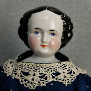 """18"""" antique German China Shoulder Head Doll with Hair stuffed Cloth Body 1890s"""