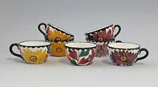 9918617 Keramik 7 Tassen Schramberg SMF handgemaltes Blumen Dekor