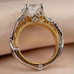 1.80 TCW Princess Cut DVVS1 Moissanite Engagement Ring in 14k Two-tone Gold