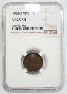 1909 S VDB Lincoln Wheat Cent Coin 1c US Penny Certified NGC VF25 BN San Fran