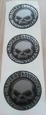 ADESIVI RILIEVO 3D HARLEY DAVIDSON SKULL STAMPA CROMO (ARGENTO SPECCHIO) 3 PZ.