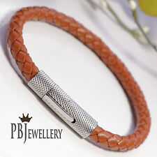 6mm Mens Genuine Leather Wristband Bracelet Stainless Steel/Silver Plated Clasp