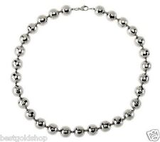 "High 20"" Polished Hammered Bead Ball Chain Necklace Stainless Steel QVC J269589"