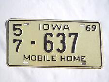 1969 IOWA MOBILE HOME License Plate Tag #57-637 Unused