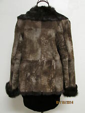 Beautiful SOFT Brown Suede Jacket Deep Brown Rabbit Fur Lining by RedFish