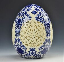 archaize china high-grade tusk porcelain Egg shape ornament Openwork carving d01