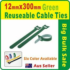 50 x Green Reuseable Cable Ties 12 x 300mm Magic Wrap Strap